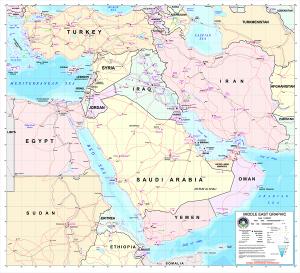 Bản đồ thể hiện vùng Trung Đông theo định nghĩa thường được công nhận.
