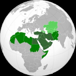 Khu vực Trung Đông trên bản đồ thế giới.